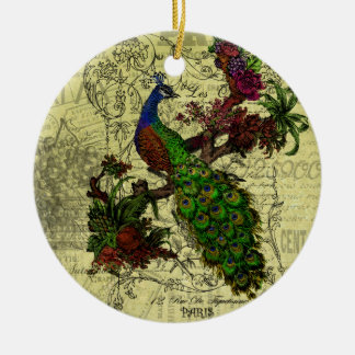 Vintage Peacock on Branch Apparel and Gifts Christmas Ornament
