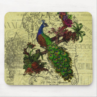 Vintage Peacock on Branch Apparel and Gifts Mouse Mat