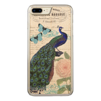 Vintage Peacock on French Ephemera Collage Carved iPhone 8 Plus/7 Plus Case