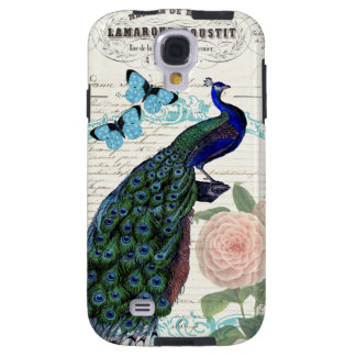 Vintage Peacock on French Ephemera Collage Galaxy S4 Case