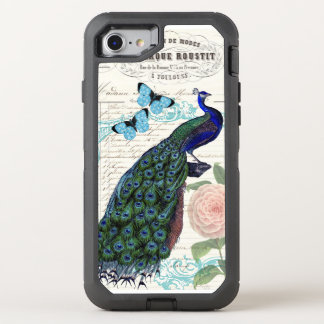 Vintage Peacock on French Ephemera Collage OtterBox Defender iPhone 8/7 Case