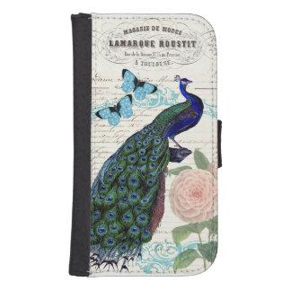 Vintage Peacock on French Ephemera Collage Samsung S4 Wallet Case