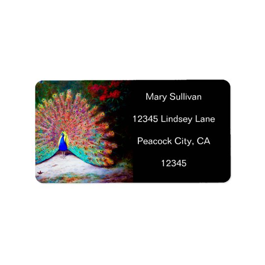 Vintage Peacock Painting Address Label