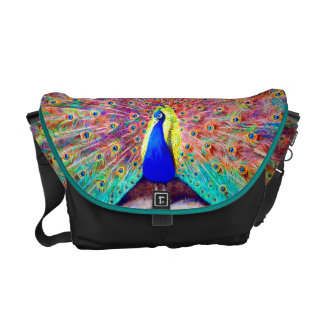 Vintage Peacock Painting Courier Bag