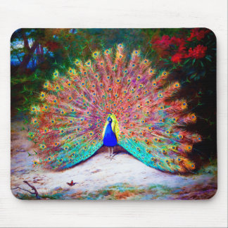 Vintage Peacock Painting Mouse Pad
