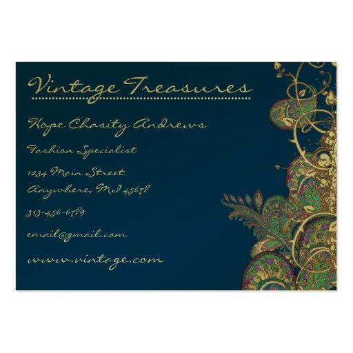 Vintage Peacock Paisleys Swirl Design Pack Of Chubby Business Cards
