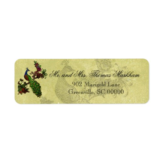 Vintage Peacock Personalised Address Labels