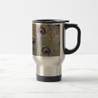 Vintage Peacock Print Travel Mug