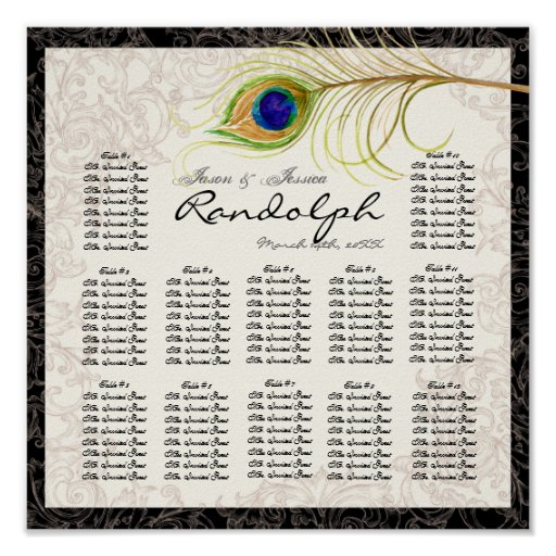 Vintage Peacock Reception Table Seating Chart Print