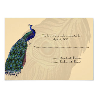 Vintage Peacock Reply Cards 9 Cm X 13 Cm Invitation Card
