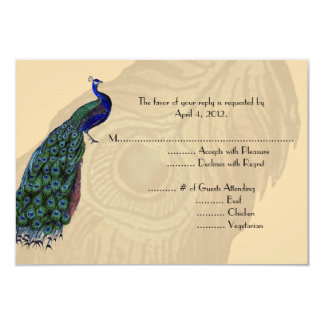 Vintage Peacock Reply Cards with Menu Options 9 Cm X 13 Cm Invitation Card