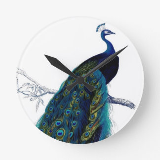Vintage Peacock Round Clock