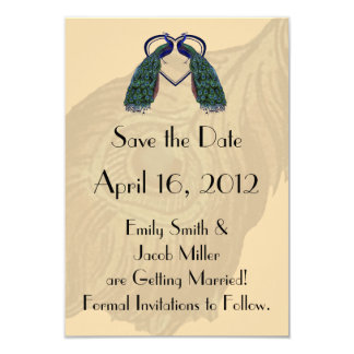 Vintage Peacock Save the Date Invitations