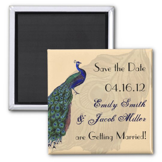 Vintage Peacock Save the Date Magnets