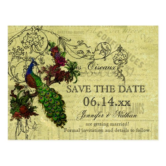 Vintage Peacock Save the Date Postcard