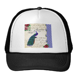 Vintage Peacock Song Collage Cap