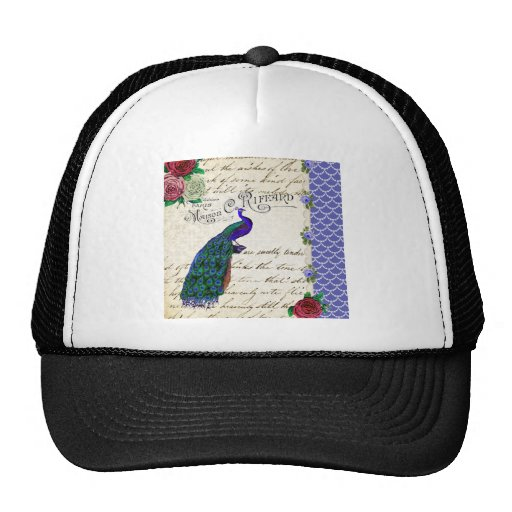 Vintage Peacock Song Collage Hats