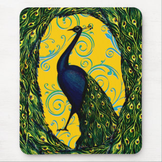 Vintage Peacock Swirl Mouse Pad