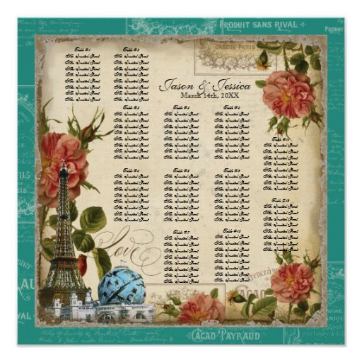 Vintage Peacock Teal Reception Table Seating Chart Posters