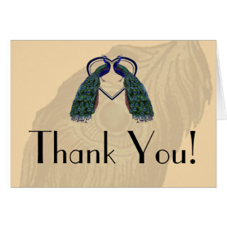 Vintage Peacock Thank You Notes