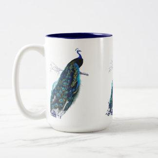 Vintage Peacock Two-Tone Coffee Mug
