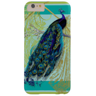 Vintage Peacock w Etched Swirls n Feathers Art Barely There iPhone 6 Plus Case