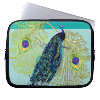 Vintage Peacock w Etched Swirls n Feathers Art Laptop Sleeve