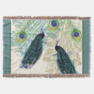 Vintage Peacock w Etched Swirls n Feathers Art Throw Blanket