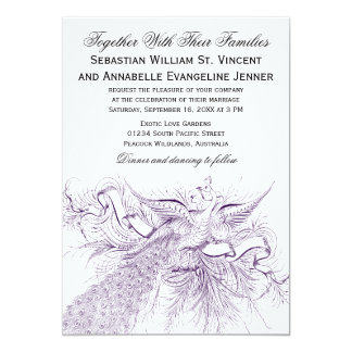Vintage Peacock Wedding Invitations