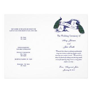 Vintage Peacock Wedding Program Flyer