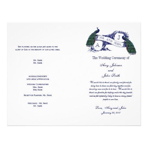 Vintage Peacock Wedding Program Custom Flyer