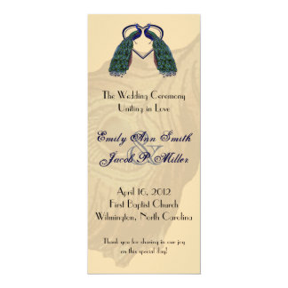 Vintage Peacock Wedding Programs 10 Cm X 24 Cm Invitation Card
