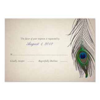 Vintage Peacock Wedding Response Card