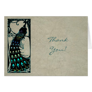 Vintage Peacock Wedding Thank You Greeting Card