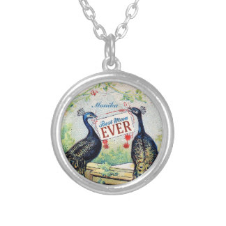 Vintage Peacocks - Best Mom Ever Silver Plated Necklace