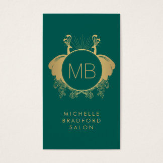 Vintage Peacocks Decorative Monogram Green/Gold Business Card