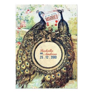 Vintage Peacocks in A Romantic Garden 14 Cm X 19 Cm Invitation Card