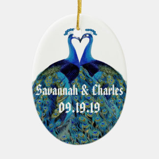 Vintage Peacocks Kissing Wedding Gifts Christmas Ornament