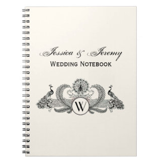 Vintage Peacocks Monogram Ivory BG Notebook