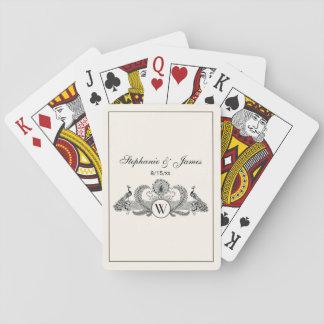 Vintage Peacocks Monogram Ivory BG Playing Cards