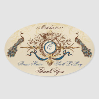 Vintage Peacocks Wedding Favour Stickers Oval
