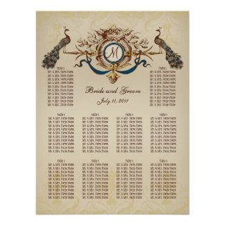 Vintage Peacocks Wedding Seating Chart