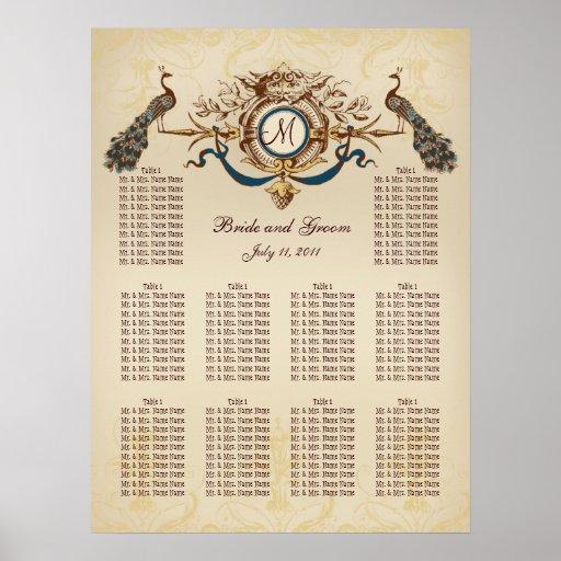 Vintage Peacocks Wedding Seating Chart Poster