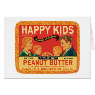 Vintage Peanut Butter Food Product Label Greeting Cards