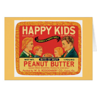 Vintage Peanut Butter Food Product Label Greeting Card