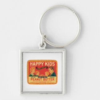 Vintage Peanut Butter Food Product Label Silver-Colored Square Key Ring