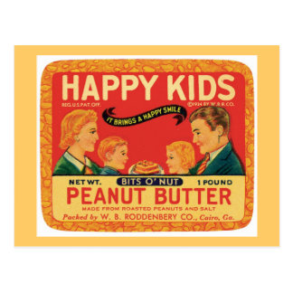 Vintage Peanut Butter Food Product Label Postcard