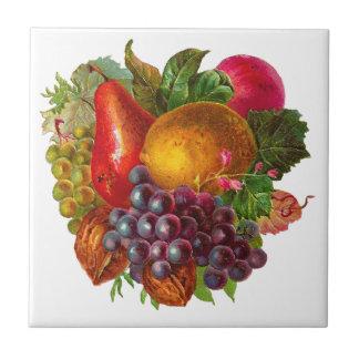 Vintage Pear, Grape, Lemon, Apple, and Walnuts Tile