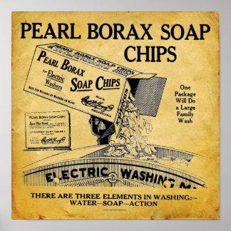 Vintage Pearl Borax Soap Laundry Detergent Print
