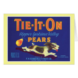 Vintage Pears Food Product Label Greeting Card